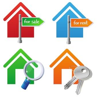 Vecteur immobilier maisons icônes