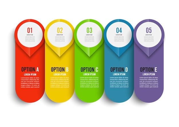 Vecteur d'infographie et marketing. business avec 5 options