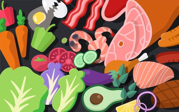 Vecteur d'ingrédients de cuisson set illustration