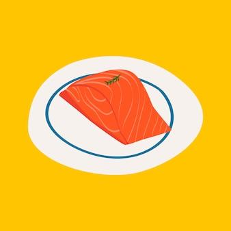 Vecteur d'ingrédients sains de saumon cru frais