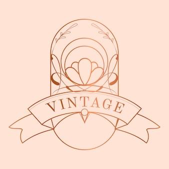 Vecteur d'insigne art nouveau rose doré