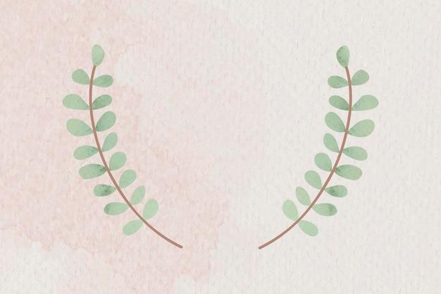 Vecteur d'insigne de couronne de feuilles vertes