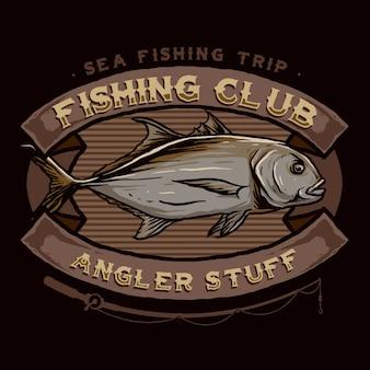 Vecteur de l'insigne du logo du club de pêche