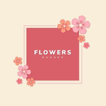 Vecteur d'insigne fleur printemps carré