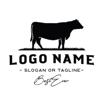 Vecteur d'inspiration vintage bovins / boeuf logo design