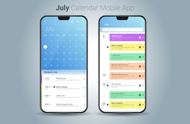 Vecteur d'interface utilisateur légère calendrier juillet application mobile