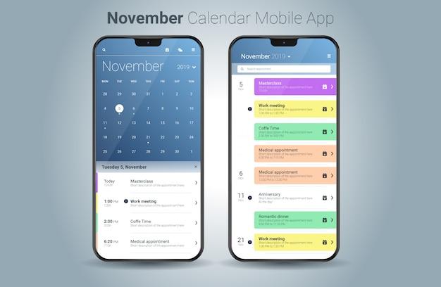 Vecteur de l'interface utilisateur légère de novembre calendrier application mobile