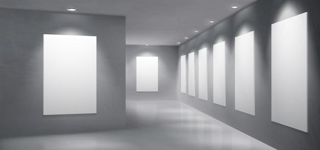 Vecteur intérieur intérieur de la salle d'exposition de la galerie d'art