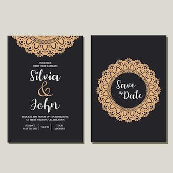 Vecteur d'invitation de mariage mandala.