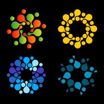 Vecteur isolé soleil modèle de conception de logo points abstraits symbole icône forme ronde ensemble de logos colorés