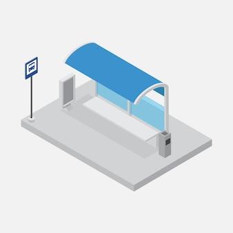 Vecteur isométrique d'abri d'arrêt de bus