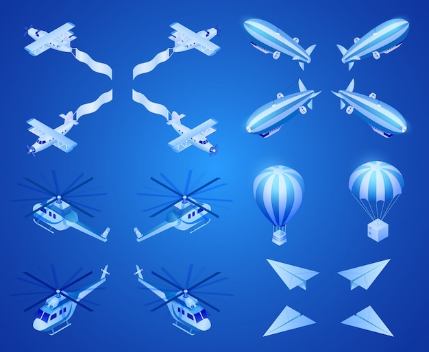 Vecteur isométrique d'aéronefs d'air moteur et léger