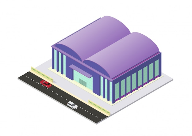 Vecteur, isométrique, aéroport, ou, entrepôt, bâtiment, isolement, blanc