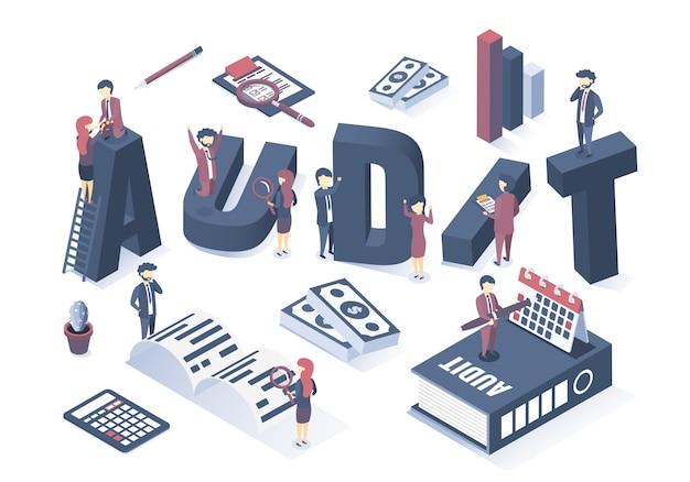 Vecteur isométrique le concept de l'audit des entreprises