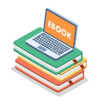 Vecteur isométrique de concept ebook