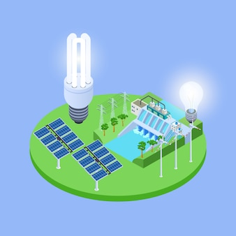 Vecteur isométrique d'énergie écologique avec illustration de panneaux solaires