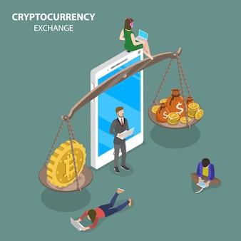 Vecteur isométrique plat d'échange de crypto-monnaie.