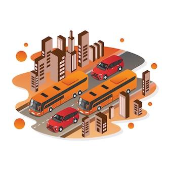 Vecteur isométrique de voiture et bus pour illustration