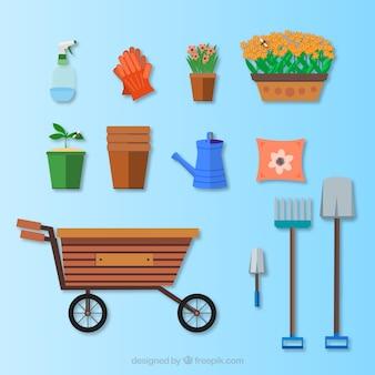Vecteur jardinage, icône, ensemble
