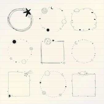 Vecteur de jeu de cadre de galaxie d'art de ligne minimale