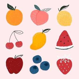 Vecteur de jeu de fruits dessinés à la main mignon