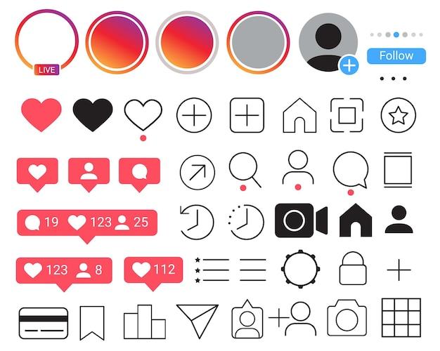 Vecteur de jeu d'icônes de médias sociaux de l'interface utilisateur mobile