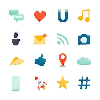 Vecteur de jeu d'icônes de médias sociaux