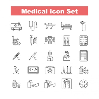 Vecteur de jeu d'icônes médicales