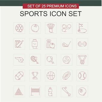 Vecteur de jeu d'icônes de sport