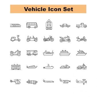 Vecteur de jeu d'icônes de véhicule