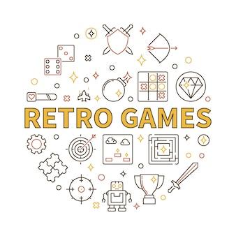 Vecteur de jeux rétro illustration ronde dans le style de contour