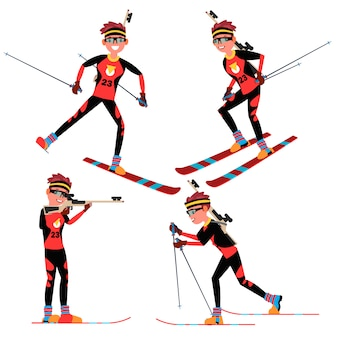 Vecteur de joueur masculin de biathlon. en action. sportsman in ski biathlon competition. equipement sportif. personnage de dessin animé
