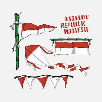 Vecteur de jour de l'indépendance de l'indonésie