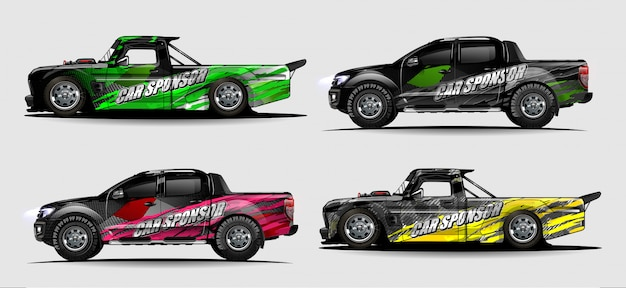 Vecteur de kit graphique de véhicule. abstrait moderne pour la marque de voiture et la livrée de décalcomanies autocollant automobile