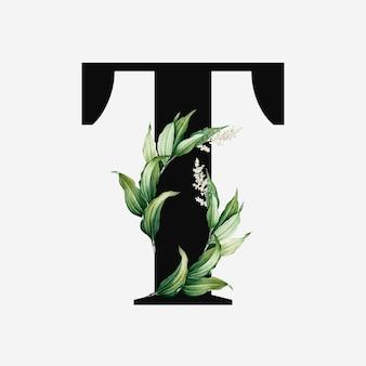 Vecteur de lettre majuscule botanique t