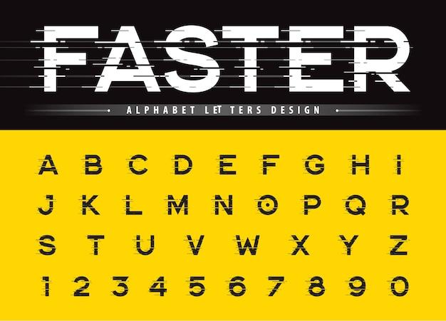 Vecteur de lettres alphabétiques modernes glitch et chiffres, polices arrondies stylisées linéaire grunge