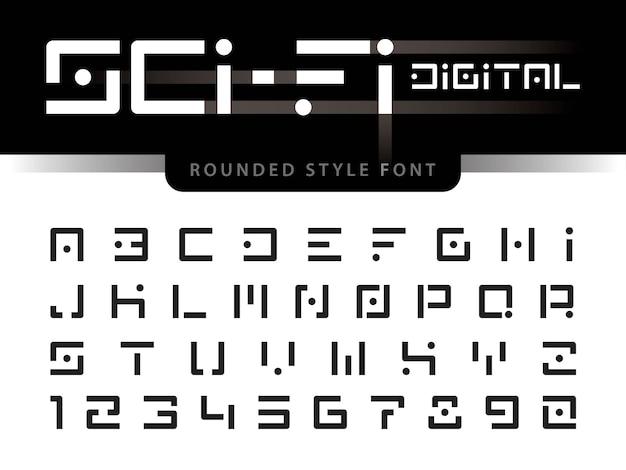 Vecteur des lettres et des chiffres de l'alphabet futuriste