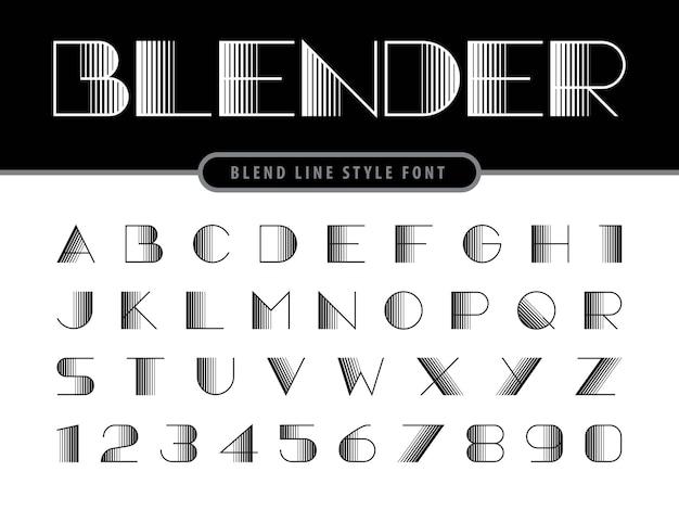 Vecteur des lettres et des chiffres de l'alphabet linéaire moderne