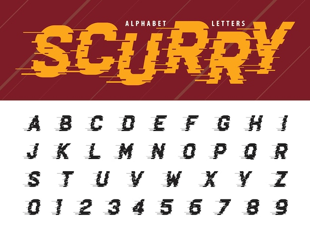 Vecteur des lettres et des chiffres de l'alphabet moderne glitch