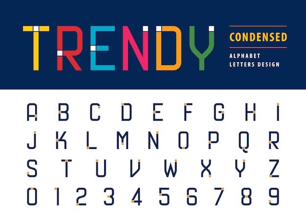 Vecteur des lettres et des chiffres de l'alphabet moderne à la mode