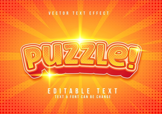 Vecteur libre d'effet de texte de puzzle