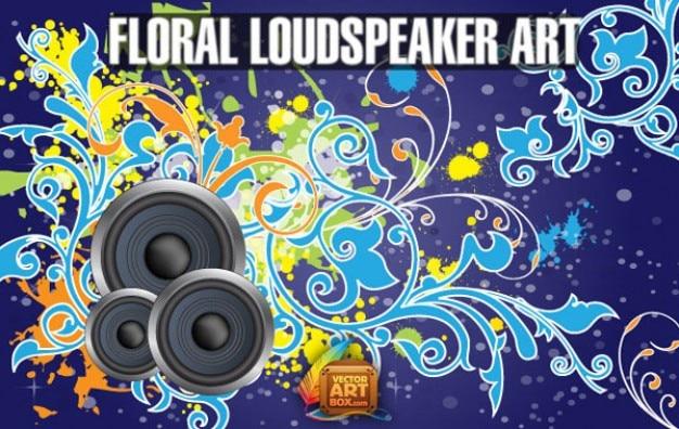 Vecteur libre floral haut-parleur bg art