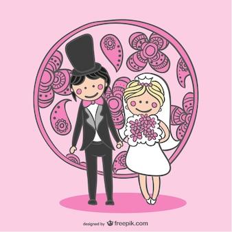 Vecteur libre mariée et le marié