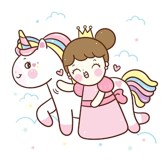 Vecteur de licorne kawaii et petit dessin animé de princesse