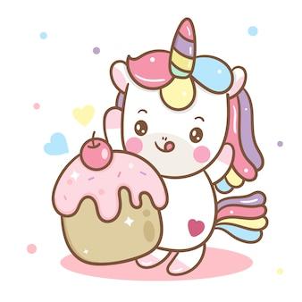 Vecteur de licorne mignon et cupcake