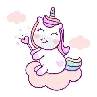 Vecteur de licorne mignon tenant la baguette coeur sur nuage
