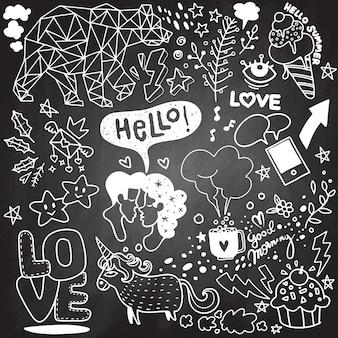 Vecteur ligne art doodle jeu de bande dessinée d'objets et symboles