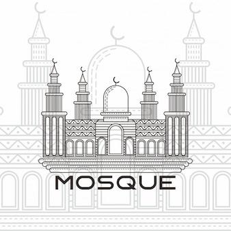 Vecteur ligne art mosquée