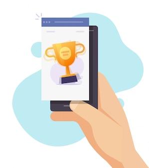 Vecteur en ligne de jeu de coupe gagnant du prix de téléphone portable