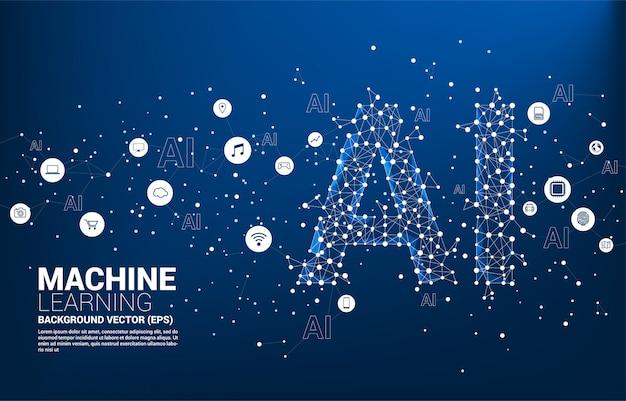 Vecteur ligne polygonale connecter ligne ai en forme. concept d'apprentissage automatique et d'intelligence artificielle.
